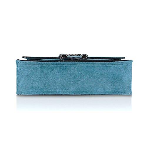 Glamexx24 Borsa vera Palle da Donna a mano , Casual Borsetta a tracolla, elegante Clutch Made in Italy 1.004 1.007.2 Blu