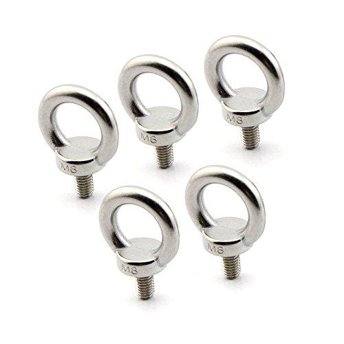 Yasorn 5-pack anillo del ojo M8 Perno inoxidable Tornillo de acero