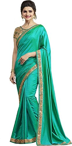 Arawins Green Satin Sarees For Women Party Wear Saree with Embroidered Brocade...