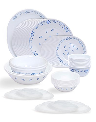 Corelle Livingware Provincial Blue Glass Dinner Set, 57-Pieces, White/Blue