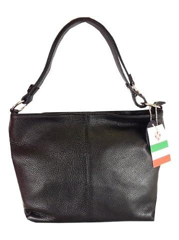 Black Italian Leather Medium Bucket Bag, Handbag or Shoulder Bag with Adjustable Strap to wear