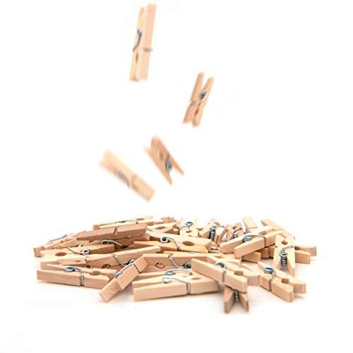 50x Mini-Holzklammern, ideal zum Verzieren und Basteln, Deko für Geschenke und Geschenktüten, geeignet um kleine Fotos aufzuhängen, Wäscheklammern für Fotonetze, Namensschilder und Fotos; Größe: 25mm