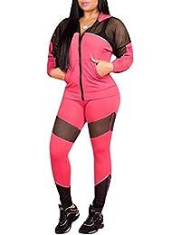 Yingshu Mujeres Sexy Mesh Patchwork Zip Up Chaqueta con Capucha Trajes de Dos Piezas Pantalones Largos Flacos Clubwear Chándal Conjunto