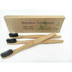 Set de cepillos de dientes 3unidades de bambú con bambú Mango de madera y bambú de carbón activo cerdas 100% recycleable respetuoso con el medio ambiente