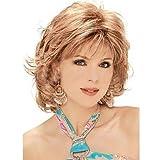 Mode Perücken GY für Damen Kunststoff Locken die fringe kurze lockige haare dunkle gold
