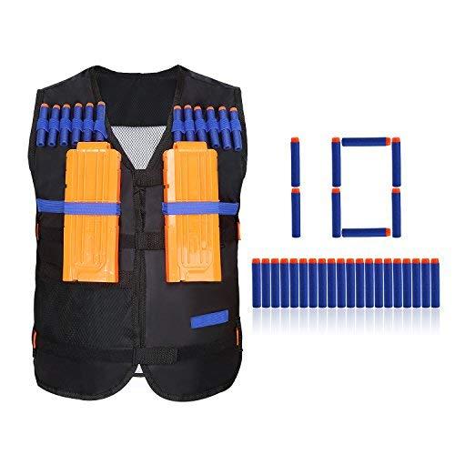 Yosoo® Weste + 2 Ladegeräte + 10 Pfeile Elite für die Kinder von Nerf N-Strike Elite