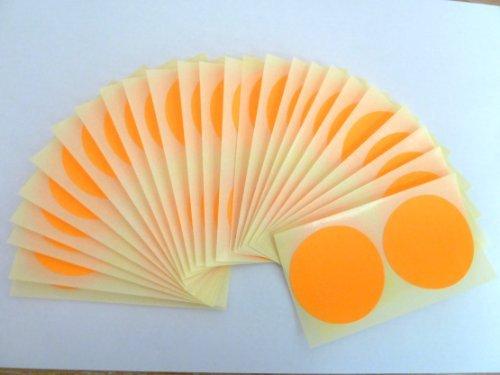 50 etiquetas, 50mm diámetro redondo,Fluorescente Mandarina,código de color PEGATINAS, autoadhesivo ADHESIVO PUNTOS DE COLORES