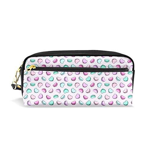 (Mikroskala) Herzförmige Macarons - Valentinstag - OG auf lila Streifen C18BS_1166 Kosmetiktaschen Federmäppchen Tragbarer Reise-Make-up-Organizer Multifunktions-Etui für Damen -