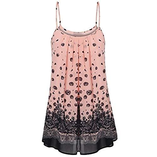 Batik-print Rock (iHENGH Damen Sommer Rock Lässig Mode Kleider Bequem Frauen Röcke Hosenträger Kleid Damen Sling Print Sommer lässig(Rosa, S))