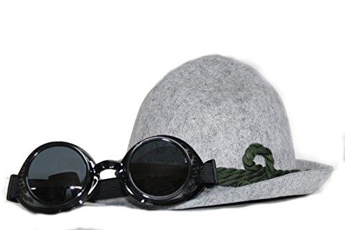 Set Hut mit Brille, extravagant Schweißerbrille Alpenhut Kombination für Erwachsene Steampunk (Steampunk Kostüme Für Jungs)