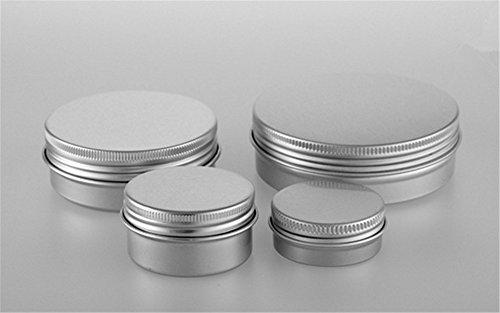Interesting® 4Pcs tragbare leere kosmetische Silber Aluminium Topf Jar Dose Lip Gloss Make-up Container Aufbewahrungsbox (15ml + 30ml + 60ml + 100ml) (Aluminium-aufbewahrungsbox)
