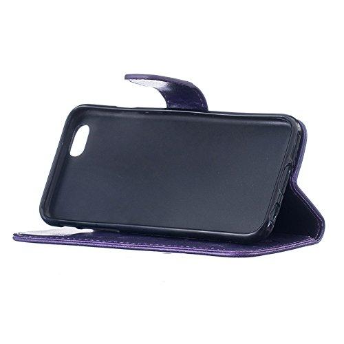 iPhone 6 Ledertasche, Aeeque® iPhone 6S Lila Brieftasche Flip Case Cover,[Schick Henna Blumen Muster] Kartenfach Standfunktion Handytasche für iPhone 6/6S mit Abnehmbar Handy Lanyard und Weich Silikon Dreamcatcher Lila
