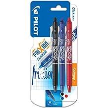 Pilot FriXion Clicker - Bolígrafo roller de gel de tinta borrable (3 unidades), color negro, rojo y azul