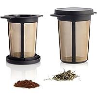 Finum BREWING BASKET Dauerfilter für Tee & Kaffee - Permanent Filter aus Edelstahl - Teefilter & Kaffeefilter - Tassen Filteraufsatz Größe L, schwarz