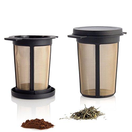 Dauerfilter für Tee und Kaffee - Permanentfilter mit Gewebe aus Edelstahl - Teefilter und Kaffeefilter - Tassen Filteraufsatz Größe L, schwarz ()
