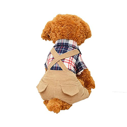 Hund Kleidung scotticize Hund Kostüm Katze Plaid Shirts Pullover mit Blau Overalls Hosen Jumpsuit Outfits von hongyh (Hund T-shirt Thanksgiving)