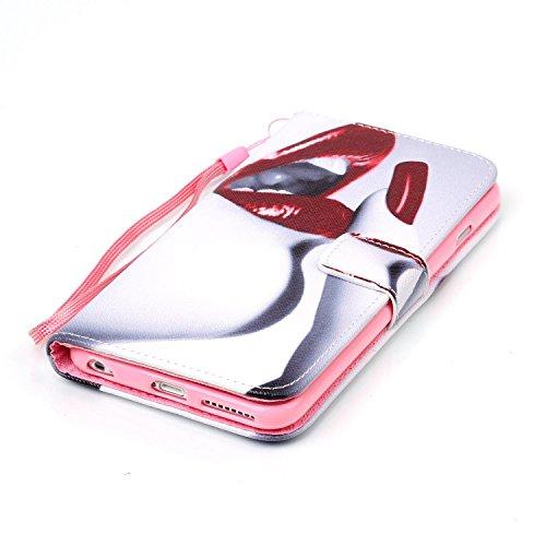 Uklayfe Book Style Design Portafoglio Custodia in pelle Cuoio Custodia Protettiva Portafoglio Flip Case Cover per iphone 6 Plus/6S Plus (5.5 pollice) con funzione di supporto e chiusura magnetica Con  sexy labbra