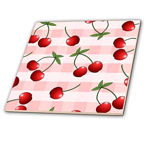 Cherry Print Juicy rot Kirschen auf rosa kariert Keramik Fliesen, 10,2cm ()