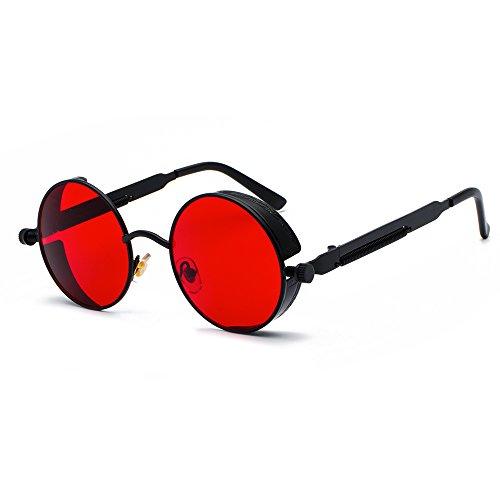 Retro Sonnenbrille,Steampunk Stil, runder Metallrahmen,für Frauen und Männer (Black red)