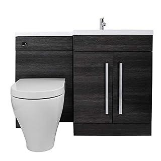 Aquariss Calm Rechtsseitiges Kombi-Waschtisch-Unterschrank Set mit Cordoba WC Toilette - Grau