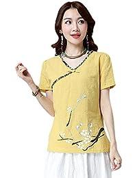 Hzjundasi Donne Stile cinese Retro Printing Cotone Biancheria camicette Estate V-Collo Maglietta