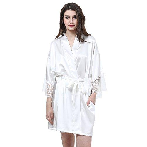 PrettyCos bata de bano encaje batas de casa con escote de seda Ropa de dormir Albornoz dama de honor de la novia blanca