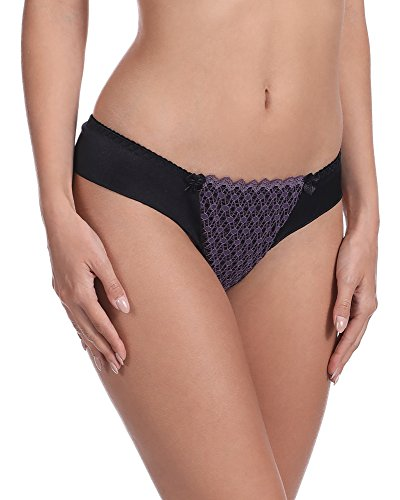 Vena Lingerie Damen String VS 195 Schwarz/Violett
