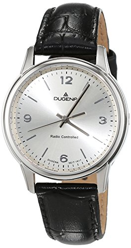 dugena-womens-funk-quartz-watch-with-silver-dial-analogue-display-and-black-leather-strap