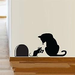 Ratón de gato de agujero de la fiesta de Navidad de regalo de vinilo de pared de pegatina decoración Decal Mural KItchen mascotas