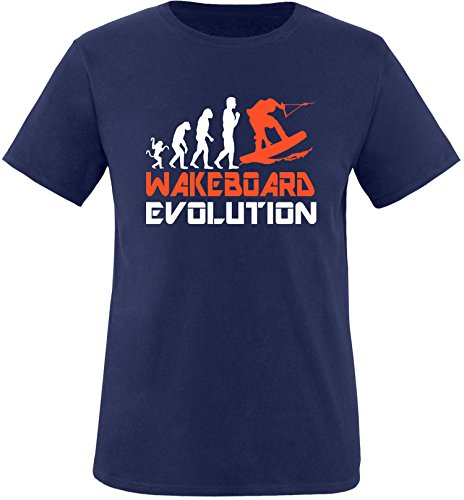 EZYshirt® Wakeboard Evolution Herren Rundhals T-Shirt Navy/Weiss/Orange