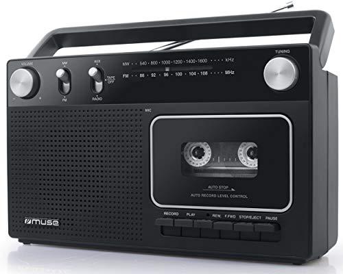 Oferta de Muse M-152 RC Retro - Grabador de Casetes con Función de Grabación (Radio FM y Am, Entrada Aux, Antena Telescópica), Color Negro