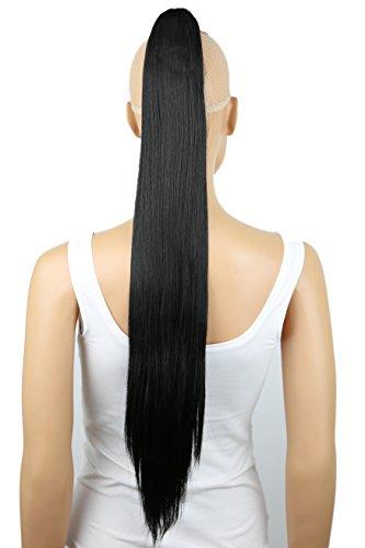 PRETTYSHOP Haarteil Zopf Pferdeschwanz glatt Haarverlängerung hitzebeständig wie Echthaar 70cm schwarz # 1 H74