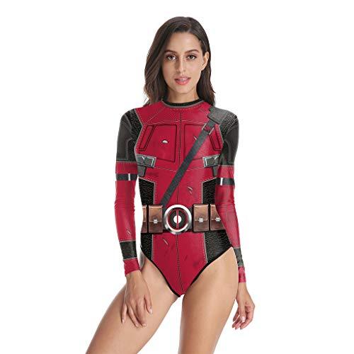 QWEASZER Marvel Deadpool Badeanzug Kostüm Erwachsene frauen Bademode Halloween Cosplay Bodysuit Bodysuitoveralls,Deadpool-M
