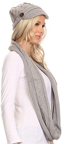 Bouton Sakkas Bri Classique Cable Knit Beanie Hat Et Matching Infinity Scarf Set Gris