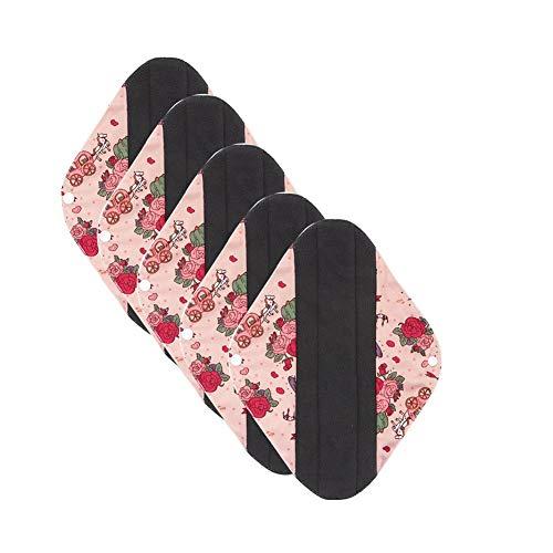 Bulary 5pcs Sanitär wiederverwendbare Tuch Menstruation Pads waschbar Damenbinden über Nacht lange Slipeinlagen Menstruation Panty Pads -