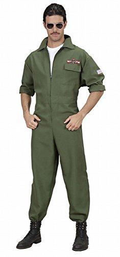Widmann 89022 - Herren Kostüm Kampfjet Pilot, Overall, grün, Größe (Top Halloween Herren Kostüme 100)
