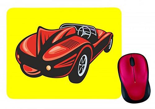 'Alfombrilla de ratón 'Roja coche deportivo racing Racing Auto Oldtimer America Amy Estados Unidos Auto Car Lujo de ancho diseño V8V12Motor Llanta Tuning Mustang Cobra en blanco y negro de color azul de rosa de amarillo de color rojo de verde | Mousepad–Ratón (–Computer Pad–Alfombrilla para ratón con diseño, color amarillo amarillo