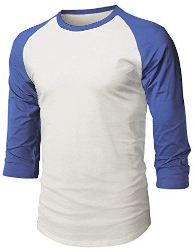 MX Herren Baseball Raglan 3/4 Ärmel Casual Basic Plain T-Shirt, Unisex-Erwachsene Herren, 1hc08_vintwht/Royal, X-Large (T-shirt Weiße Erwachsene Henley)