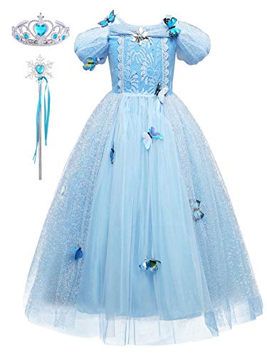 Yonier abito blu fantasia bianco farfalla rosa lunga giallo ragazza principessa cosplay costume