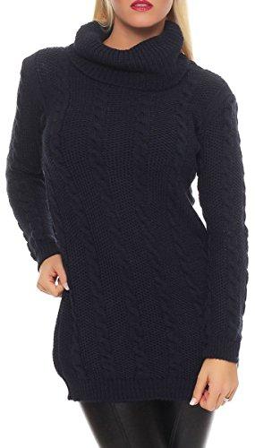malito Maglione nella Basic-Look Dolcevita Gilet Giacca Bolero Poncho Oversize Cardigan Casual 7323 Donna Taglia Unica (blu scuro)