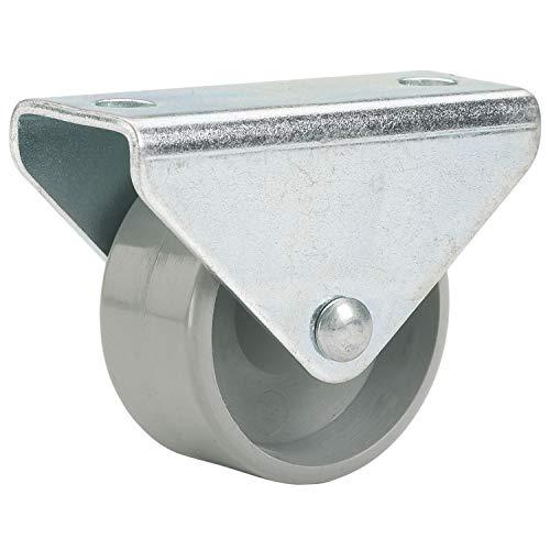 Gedotec Bockrolle für Schrank Möbel-Rolle universal Schwerlast-Rolle für Bett-Kasten | Ø 15 mm | mit Gleitlager | zum Schrauben | Kunststoff grau | 1 Stück