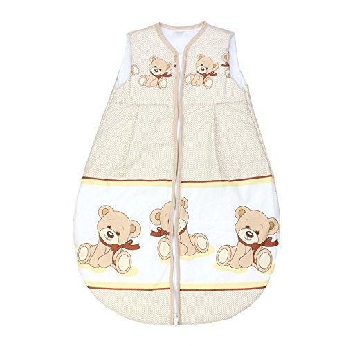 TupTam Baby Schlafsack Wattiert Ohne Ärmel ANK001, Farbe: Teddybär Zickzack Beige, Größe: 104-110