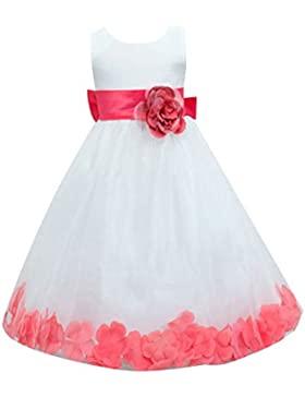 Las Niñas Sin Mangas Niños Vestido Princesa Vestido Vestido Niña De Las Flores Boda WMRojo para 10-12 años