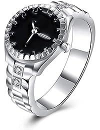 Nosii Reloj Creativo Anillo de Boda Anillo de dial Anillos Personalizados Plateado Plateado Casual Mujeres Joyería