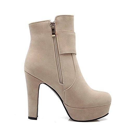 AgooLar Damen Hoher Absatz Rein Reißverschluss Stiefel mit Metalldekoration, Cremefarben, 34