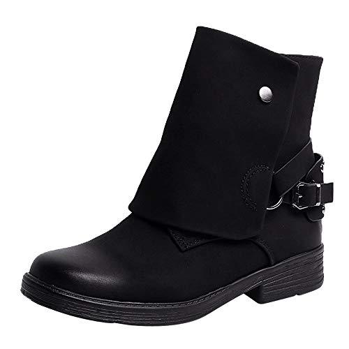 Toasye Damen Runde Spitze Leder Reißverschluss Schnalle Vintage Boots Stiefel Quadratische Ferse Schuhe
