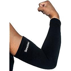 senston 1 Pieza Protección del Brazo Manguitos de Brazos Calentador del Brazo Compresión Arm Sleeve de Bicicleta Golf,Baloncesto Ciclismo Todos Los Deportes, Uso Médico-Hombres/Mujeres/Juventud-Negro