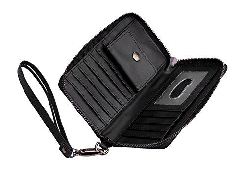 Cerbery | Eleganter Geldbeutel aus Leder | Abendtasche Brieftasche Case Clutch Cover Damen Damenhandtasche Damentasche Etui Geldbörse Handtasche Hülle Münzfach Portemonnaie Tasche
