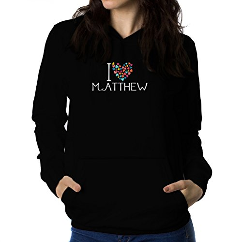 I love Matthew colorful hearts Sweat à capuche Femme
