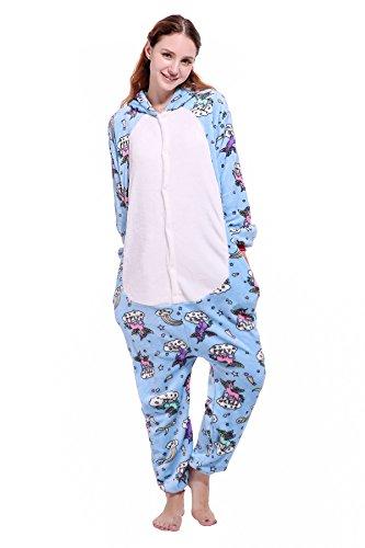 a Cartoon Tiere Pyjama Cosplay Kostüme Flanell Jumpsuits Unisex Erwachsene Kinder Nachtwäsche Party Kostüme (Pegasus, S) ()